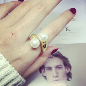J. Crew Jewelry - J Crew Flawless Graceful Pearl Cuff Ring